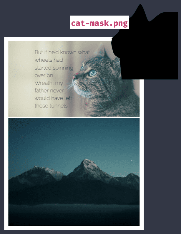Two panel comic with the text wrapping panel 1's cat image. An image of the image mask labelled cat-mask.png to the side