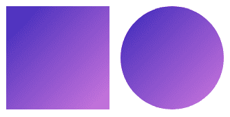 Square and circle icons with the same purple linear gradient from top left to bottom right